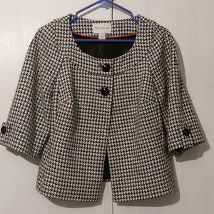 WHBM Houndstooth Wool Blend Jacket Swing Size 10